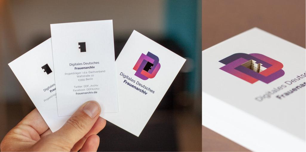 Visitenkarten mit ausgelaserter Form im Logo