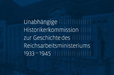 Logo der Historikerkommission vor blauem Hintergrund