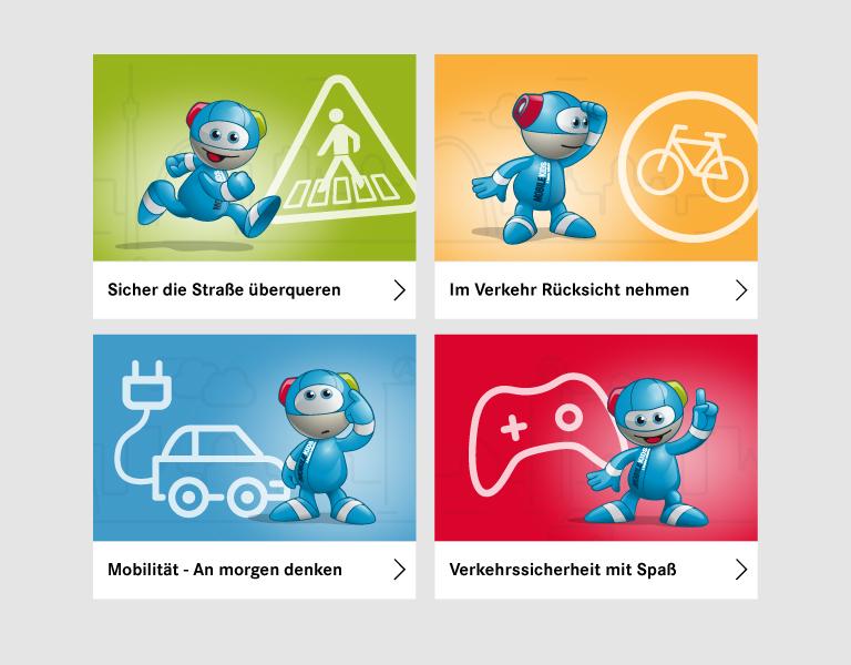 MobileKids Kinderbereich mit Lerninhalten und verknüpften Lernspielen