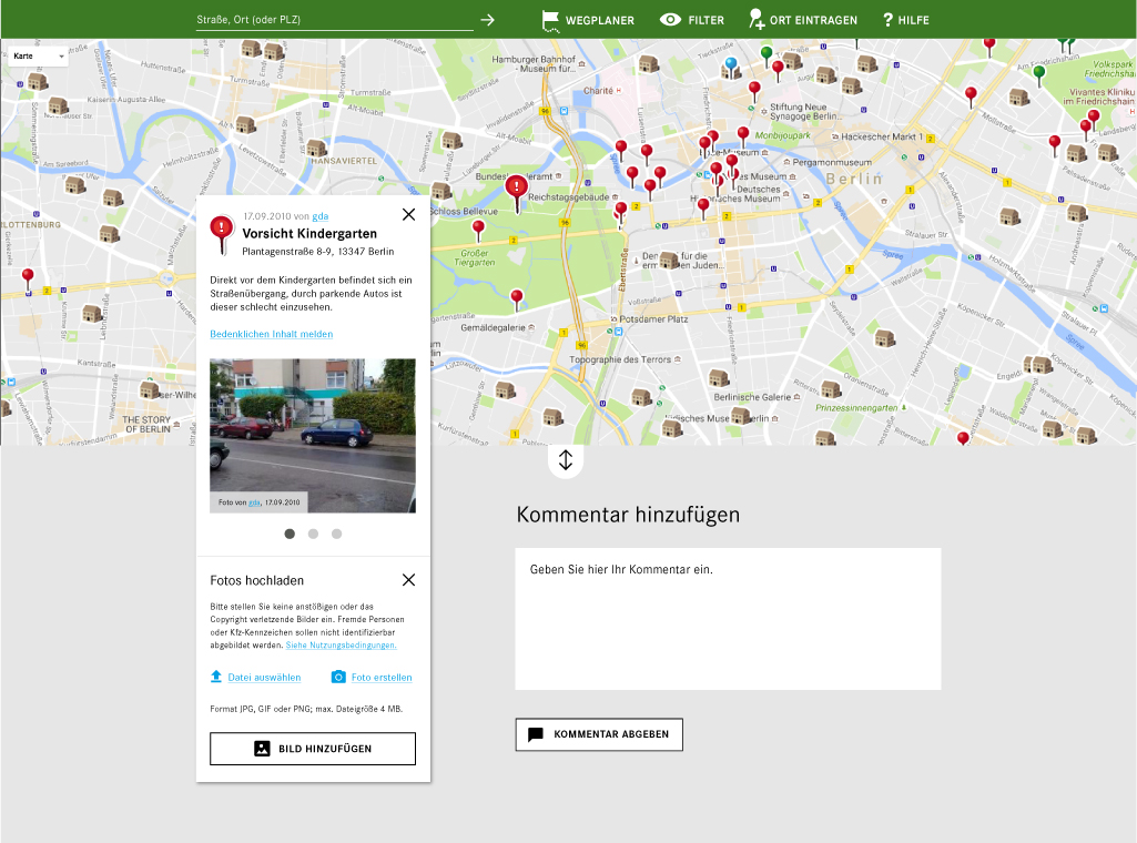 """MobileKids Safety Map für mehr Sicherheit im Straßenverkehr mit angezeigtem kritischen Verkehrspunkt """"Vorsicht Kindergarten"""""""