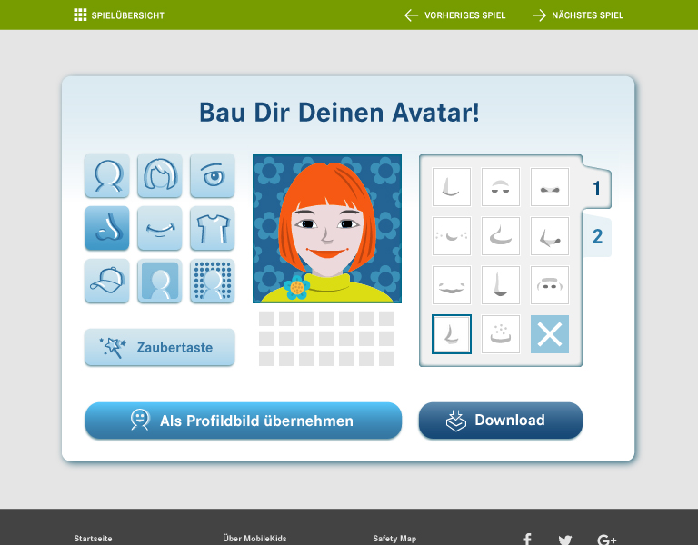 Screenshot des Avatar-Baukastens