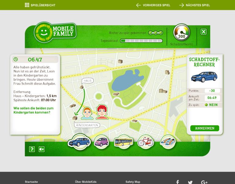 Mobilekids Serious Game zum Thema Umweltbewußtsein und Schadstoffverbrauch