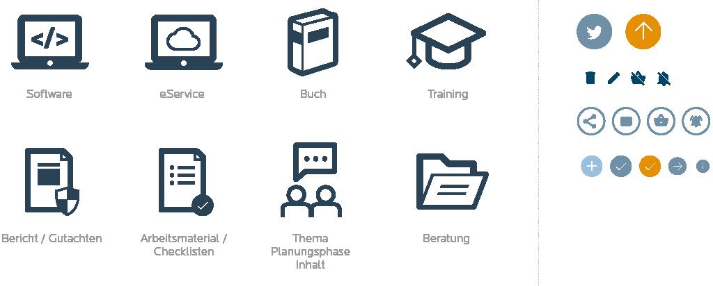 Übersicht über die Icons für Produkte und andere Funktionen