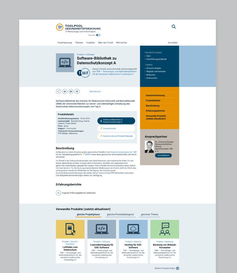 Abbildung einer Produktseite mit Verschlagwortung, Beschreibung und Verweis auf ähnliche Produkte