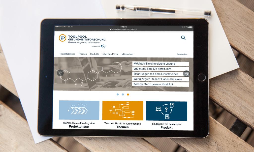 Startbild des Toolpool auf einem iPad
