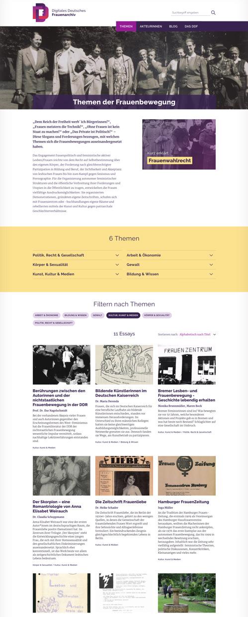 Themenseite mit Filtern und Teasern