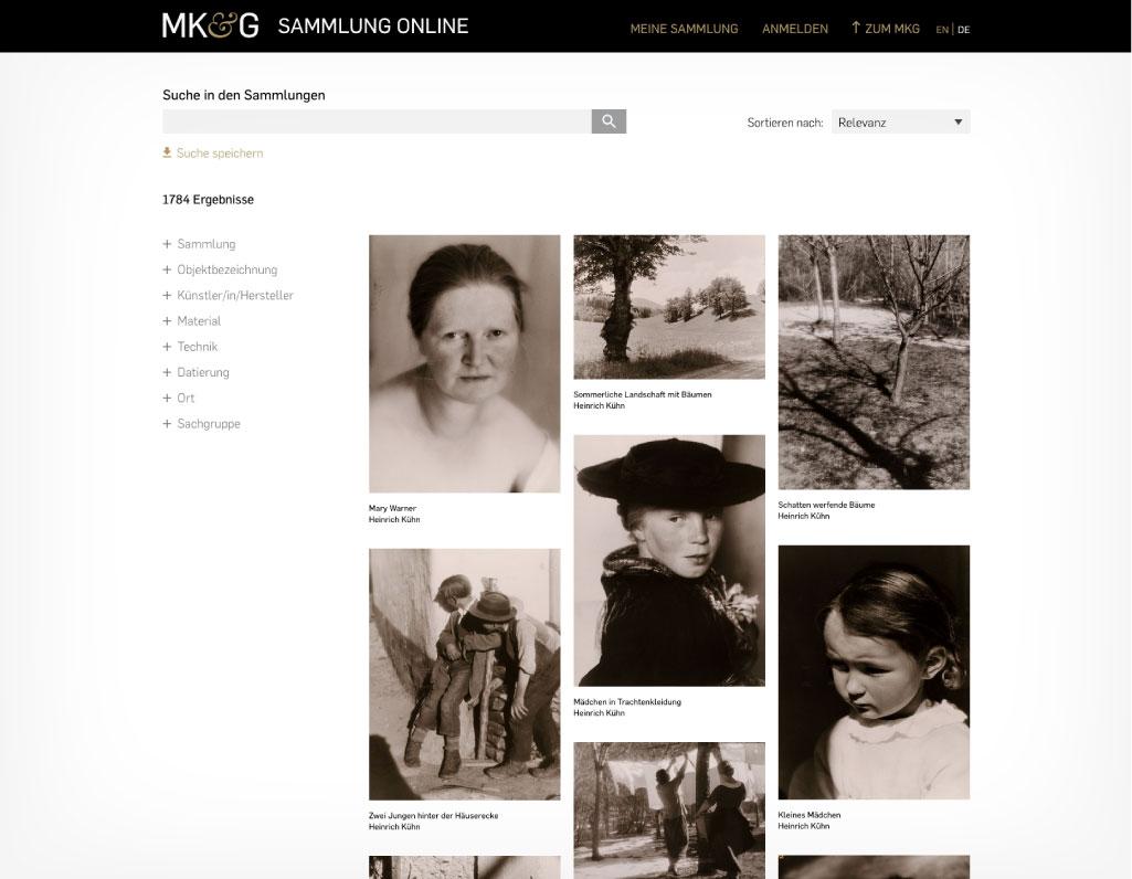 Suchergebnis mit responsiven Treffern in Bildkacheln