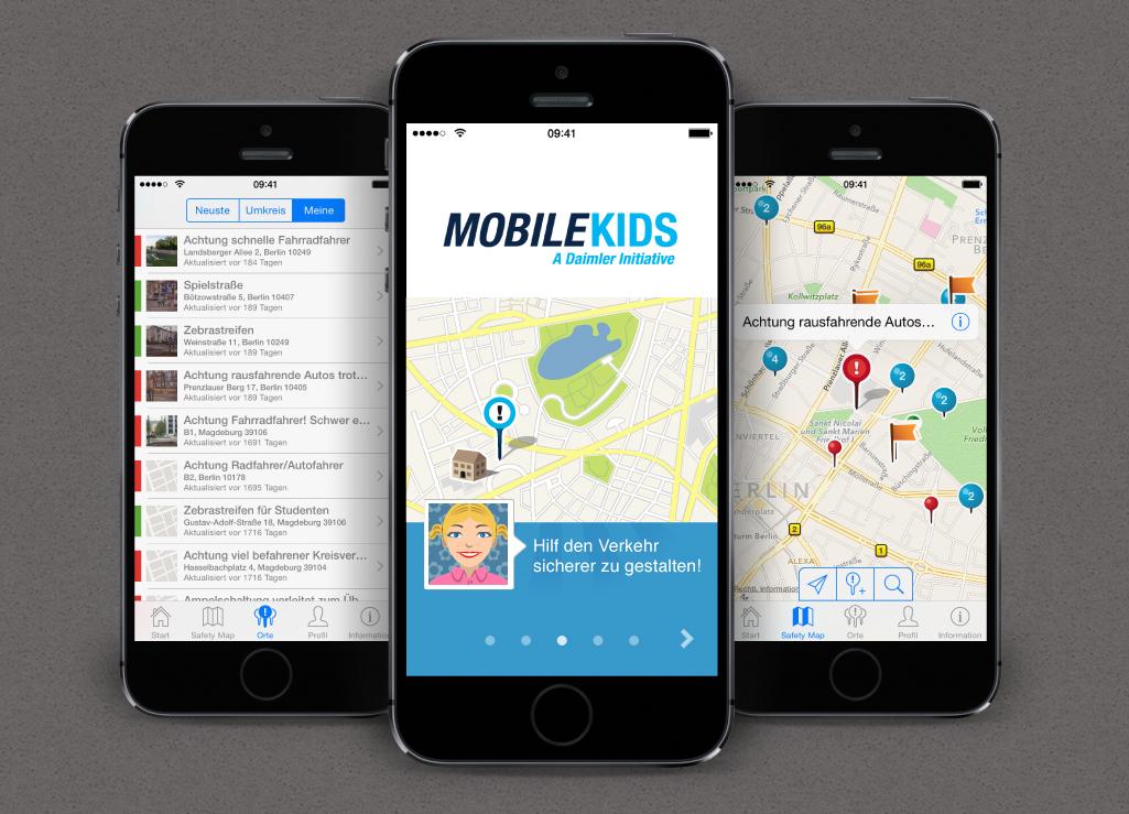 Drei Beispielscreens für die iOS MobileKids App.