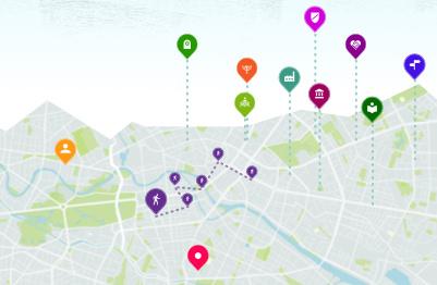 Bild einer stilisierten Karte mit Ortsmarkern