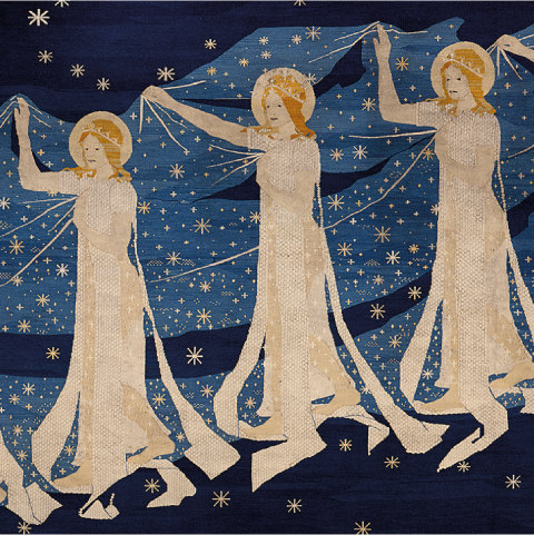 Foto: Ausschnitt aus Wandteppich. Drei Jugendstil-Engel tragen einen Schleier aus Sternen.
