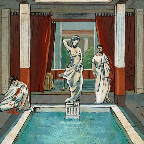 Foto: Illustration einer Römischen Stadvilla. Im Wasserbecken in der Mitte steht zwischen viereckigen Säulen die Statue einer halbnakten Frau. Ein Mann im langem Gewand betrachtet sie während er den erdolchten Körper eines Mannes am linken BIldrand unbeachtet lässt.